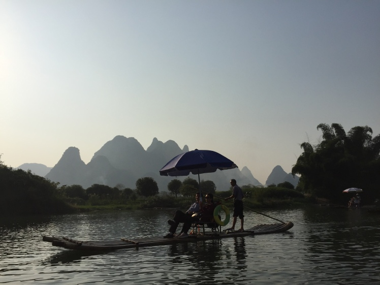 Bamboo rafting on Yu Long (Dragon) River, Yangshuo