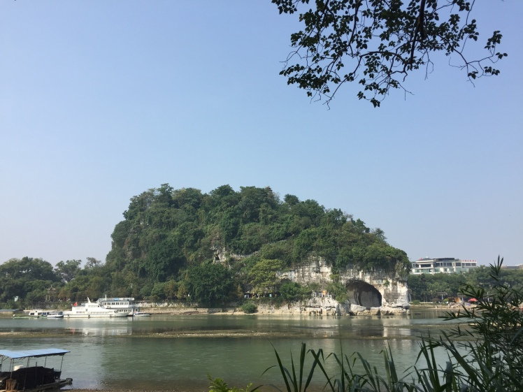 View of Guilin's Elephant Trunk Hill from across the river, where I was going for a morning run