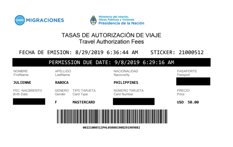 2 AVE Argentina Visa for Philippine Passport